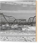 Hurricane Sandy Jetstar Roller Coaster Black And White Wood Print
