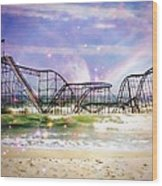 Hurricane Sandy Jetstar Roller Coaster Fantasy Wood Print by Jessica Cirz