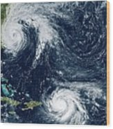 Hurricanes Maria And Jose Wood Print