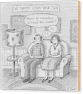Husband And Wife Discuss Summer Plans On A Couch Wood Print