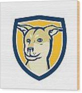 Husky Shar Pei Cross Dog Head Shield Cartoon Wood Print