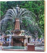 Hyde Park Fountain Wood Print