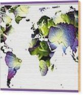Hydrangea World Map Wood Print