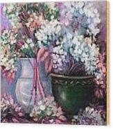 Hydrangeas Still Life Pink Wood Print