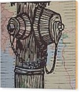 Hydrant On Map Wood Print by William Cauthern