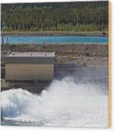 Hydro Power Station Dam Open Gate Spillway Water Wood Print