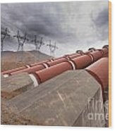 Hydroelectric Plant In Renewable Energy Concept Wood Print