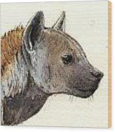 Hyena Head Study Wood Print by Juan  Bosco