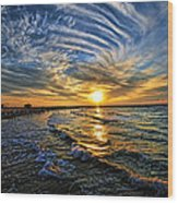 Hypnotic Sunset At Israel Wood Print by Ron Shoshani