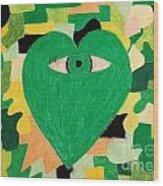 I Eye Love Green Wood Print