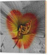 I Heart Flowers Wood Print