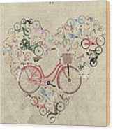 I Heart My Bike Wood Print by Andy Scullion