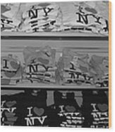 I Heart Ny In Black And White Wood Print