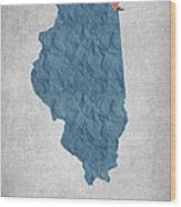 I Love Chicago Illinois - Blue Wood Print