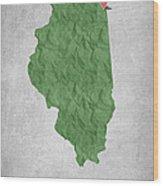 I Love Chicago Illinois - Green Wood Print