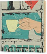 I Love Coffee. Coffee Typographical Wood Print