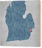 I Love Detroit Michigan - Blue Wood Print