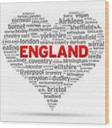 I Love England Wood Print