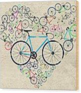 I Love My Bike Wood Print
