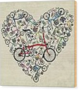 I Love My Brompton Wood Print by Andy Scullion