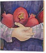 I Love Pomogranates Wood Print