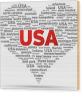 I Love Usa Wood Print by Aged Pixel