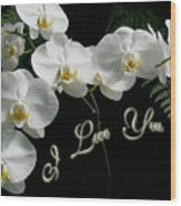 I Love You Greeting - White Moth Orchids Wood Print