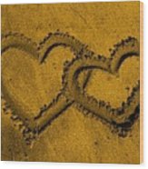 I Love You In The Sand Wood Print