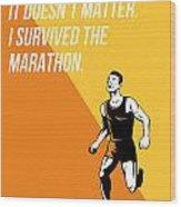 I Survived Marathon Runner Retro Poster Wood Print