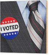 I Voted Pin On Lapel Wood Print