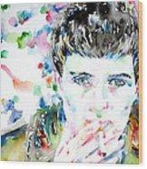 Ian Curtis Smoking Cigarette Watercolor Portrait Wood Print by Fabrizio Cassetta