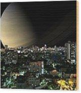 Iapetus City Saturn Wood Print