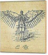 Icarus Flying Machine Patent Drawing-vintage Wood Print