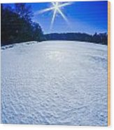 Ice And Snow Frozen Over Lake On Sunny Day Wood Print