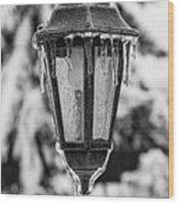 Ice Covered Lantern Wood Print