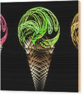 Ice Cream Cones 5 Flavors Wood Print