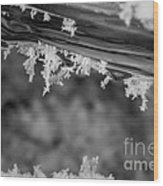 Ice Crystals Frozen In The River Wood Print