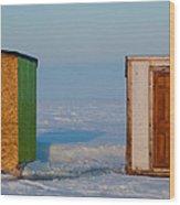 Ice Fishing Huts Canada Macro Wood Print
