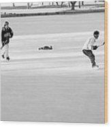 Ice Hockey - Black And White - Nostalgic Wood Print by Steve Ohlsen