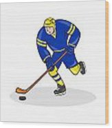 Ice Hockey Player Side With Stick Cartoon Wood Print