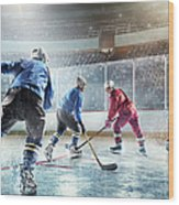 Ice Hockey Players In Action Wood Print