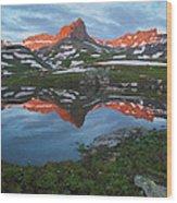 Ice Lakes Alpenglow Wood Print