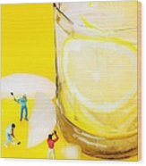 Ice Making For Lemonade Little People On Food Wood Print