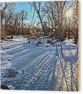 Ice Pond Sunset Wood Print
