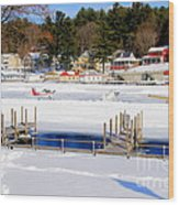 Planes On The Ice Runway In New Hampshire Wood Print