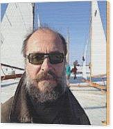 Ice Sailing On The Hudson Beard Contest Wood Print