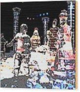 Ice Sculptured Nativity Scene Posterized Wood Print