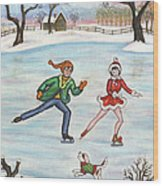 Ice Skaters Wood Print
