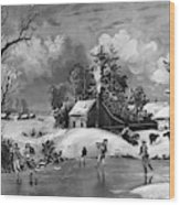 Ice Skating, 1880 Wood Print