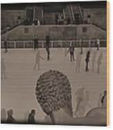 Ice Skating At Rockefeller Center In The Early Days Wood Print